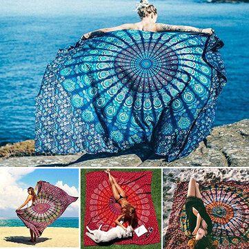 Honana WX 99 New 150x210cm Bohemian Style Polyester Fiber Beach Mat Tapestry Mandala Rectangle Bed Sheet