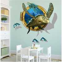 Miico 3D Creative PVC Wall Stickers Home Decor Mural Art Removable Sea Turtle Wall Decals