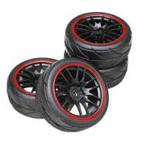 4PCS 12mm Hub Wheel Rims & Rubber Tires for HSP HPI Tamiya 1/10 On-road Drift Rc Car Parts