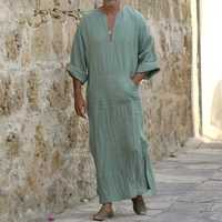 TWO-SIDED Mens Kaftan Vintage Loose V Neck Splits Long Tops