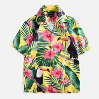 Men Cartoon Toucan Floral Printed Short Sleeve Shirts