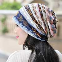 Women Cotton Print Bonnet Cap Comfortable Multi-function Neck Scarves Casual Windproof Visor Hat