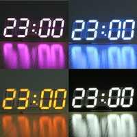 3D LED Digital Wall Clock Alarm Clock USB Stereo Clock Built-In Automatic Light Sensor Date Time Temperature Display Function