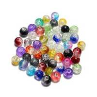 6mm 8mm 10mm Mixed Color Crack Glass Round Spacer Loose Beads