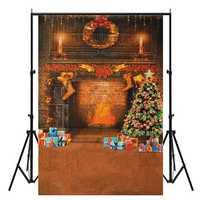 Chirstmas Tree Gift Stocking Fireplace Backdrop Photography Background Studio Photo Prop