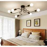 Vintage Industrial Edison 6Lights Barn Metal Flush Mount Ceiling Lights