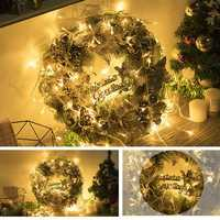 30CM Luxury Golden Christmas Light Door Home Window Wreath Light Home Decor Xmas Gift