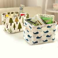 Brief Linen Desktop Folding Storage Box Holder Home Jewelry Makeup Cosmetic Sundries Stationery Organizer Case