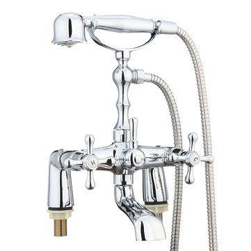 Victorian Traditional Shower Faucet Bathroom Bath Shower Filler Mixer Tap Hand Held Set