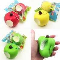 Sanqi Elan Simulation Cute Apple Soft Squishy Super Slow Rising Original Packaging Ball Chain Kid Toy