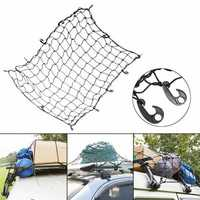 120*180cm Car Rear Trunk Storage Net Roof Cargo Organizer Elastic Mesh Net Luggage With 12 Hooks