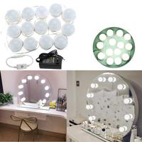 5M 14LEDs Hollywood Style White LED Vanity Mirror Lights Kit + US Adaptor+Dimmer DC12V