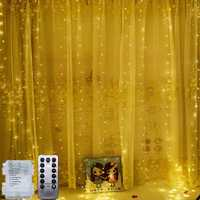 Battery Powered 3M*3M 300LED Curtain String Light Christmas Fairy Light with 13Key IR Remote Control