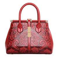 Women High Quality PU Leather Retro Embroidery Handbag Tote Bag Shoulder Bag