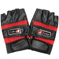 Half Finger Leather Gloves Protective Men's Boxing Sports Motorcycle Cycling Biker Black Red Blue