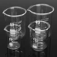 4Pcs 25ml 50ml 100ml 150ml Beaker Set Graduated Borosilicate Glass Beaker Volumetric Mesuring Lab Glassware