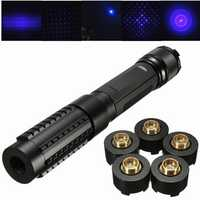 445nm Blue Light Laser Pointer Pen Power Beam 5 Head+2x16340+Charger+Goggles Sets