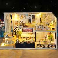 Time Shadow Modern Doll House Miniature DIY Kit Dollhouse With Furniture LED Light Box Gift