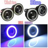 12V Car 3inch COB LED Halo Projector Fog Angel Eyes Blue White Ring Light Headlight