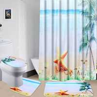 Bathroom Decor Shower Curtain Bathroom Mat Non Slip Pedestal Rug Lid Toilet Cover Bath Mat