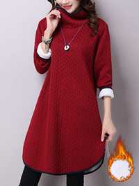 Casual Women Turtleneck Long Sleeve Solid Color Thick Warm Dress