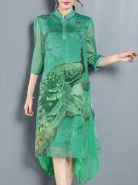 Floral Print Strand Collar Irregular Silk Dress