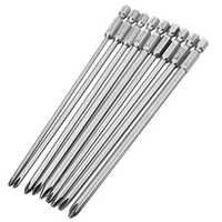 Broppe 9pcs 150mm Magnetic Cross Head Screwdriver Bits Long Hex Shank