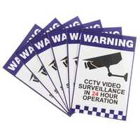 6pcs Warning CCTV Security Surveillance Camera Sign Warning Decal Stickers 66x100mm