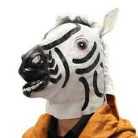 Zebra Latex Full Head Mask Cospaly Masquerade Animal Dress Up Carnival