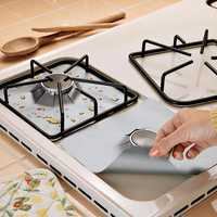 Honana RP11 4Pcs Reusable Silver Gas Range Protector Liner Non Stick Gas Hob Stove Top