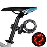 ROCKBROS Bicycle Cable Lock With Bike Rear Light Waterproof USB Rechargeable Bike Anti Theft Locks