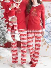 Casual Christmas Parent-Child Long Sleeve Home Tracksuit Set