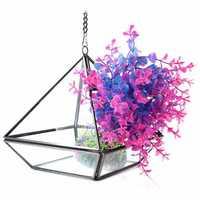 Triangle Greenhouse DIY Micro Landscape Glass Terrarium Succulent Plants Flower Pot