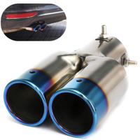 Universal Tip 6cm Inlet & Blue Dual Outlet Stainless Steel Exhaust Muffler