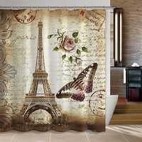 180x200cm Paris Bathroom Shower Curtains Eiffel Tower Waterproof Fabric & Hooks