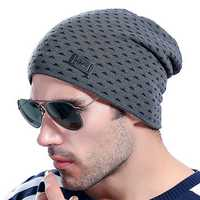 Men Warm Striped Elastic Stretchable Knitted Hats