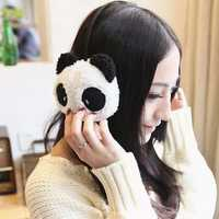 Women Girls Cute Fluffy Fur Plush Panda Pattern Earmuffs Winter Ear Warmer