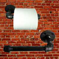Industrial Pipeline Vintage Paper Towel Rack Bathroom Wall Mount Toilet Paper Holder