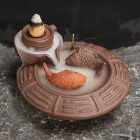 Purple Clay Backflow Incense Cone Burner Stick Holder Water Pond 2 Fish Smoke Back Flow Home Decor