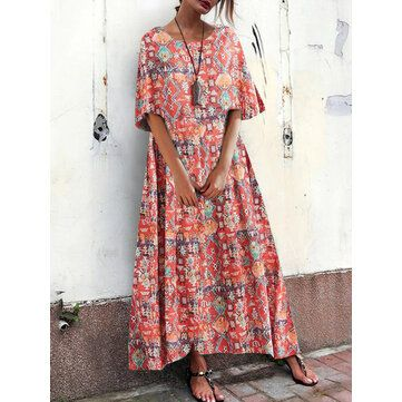 Bohemian Women Loose Floral Print O Neck Short Sleeve Side Pockets Dress