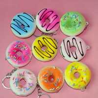 10PCS 5CM Random Color Squishy Donuts Cell Phone Strap Key Chain Scented