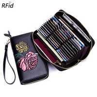 Brenice Women Embossed RFID Wallet 36 Card Holders Purse