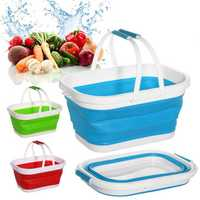 Folding Collapsible Water Bucket Outdoor Portable Camping Picnic Silicone Basket Barrel