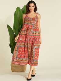 Plus Size Bohemian Floral Print Sleeveless Slip Dress