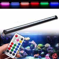 25CM RGB SMD5050 Rigid LED Strip Light Air Bubble Aquarium Fish Tank Lamp + Remote Control AC220V