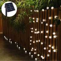 5M 20 LED Solar Power Snow Ball Fairy String Light Outdoor Garden Lamp Christmas Holiday Party Decor