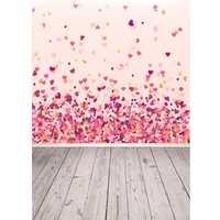 3x5FT Vinyl Valentine's Day Red Pink Heart Wood Floor Photography Backdrop Background Studio Prop