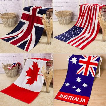 70x140cm Absorbent Cotton Australian Canada Flag Beach Towels Creative Quick Dry Bath Towel