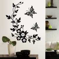 Funny Novelty Butterfly Flower Vine Bathroom Wall Sticker Home Decoration Vinyl Wall Decals