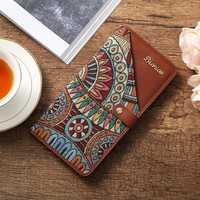 Brenice Women Emossed Floral 18 Card Slots Vintage Hasp Slim Long Wallet Coin Purse